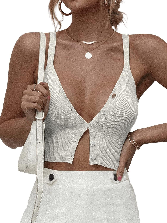 SweatyRocks Women's V Neck Button Down Sleeveless Knit Crop Cami Tank Top