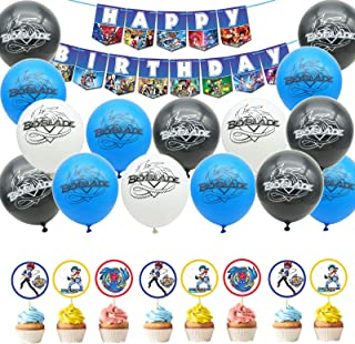 55 Pack Beyblade Party Supplies Set,24 Pcs Beyblade Theme Cupcake Toppers,30 Pcs Latex balloons,1 Pcs Beyblade Happy Birth...