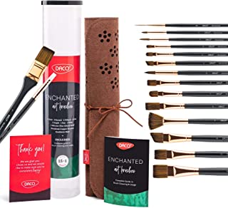 DACO Paint Brush Set Enchanted, 15+1 Long Handle Paint Brushes Inside Roll Case, Suitable for Acrylic Paint, Watercolor Pa...