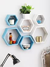 Artesia Decorative MDF White & Blue Hexagon Shape Wall Shelf Set Of 6