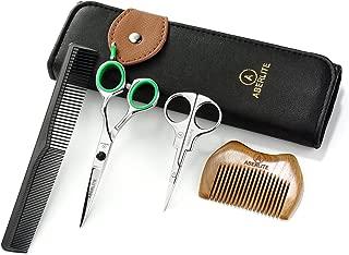 Aberlite Beard Scissors Kit for Men (5Pcs Set)   Professional Micro-Serrated Beard/Hair Scissors, Travel Size Precision Beard/Mustache Scissor, Sandalwood Pocket Comb, and Leather Case