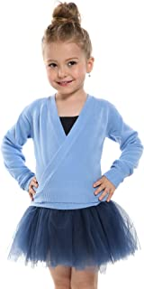 Arshiner Girls Classic Ballet Wrap Top Long Sleeve Dance Cardigan Knit Sweater