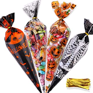 Konsait 100pcs Halloween Candy Bags,Halloween Cellophane Snack Bags Clear Cone Cookie Treat Bags with Twist Ties for Baker...