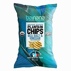 Barnana Organic Plantain Chips - Salt & Vinegar - 5 Ounce - Barnana Salty, Crunchy, Thick Sliced Sna