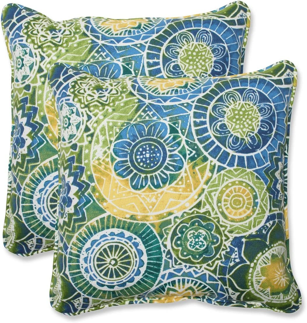 Set of 2 Laguna Mosaico Blue Outdoor Yellow and All items free shipping Green Sq Corded [Alternative dealer]