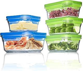 جلاس لوك - مجموعة أوعية زجاجية فاخرة لتخزين الطعام وأدوات التخزين، آمنة للاستخدام في الفرن والمجمد, بلاستيك زجاج, 10 Piece