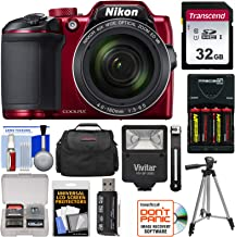 Nikon Coolpix B500 Wi-Fi Digital Camera (Red) with 32GB Card + Batteries & Charger + Case + Tripod + Flash Kit (Renewed)