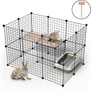 Pet Playpen, DIY Small Animal Cage Indoor Portable Metal Wire Yard Fence for Small Animals Rabbit, Guinea Pigs, Puppy,24Panels