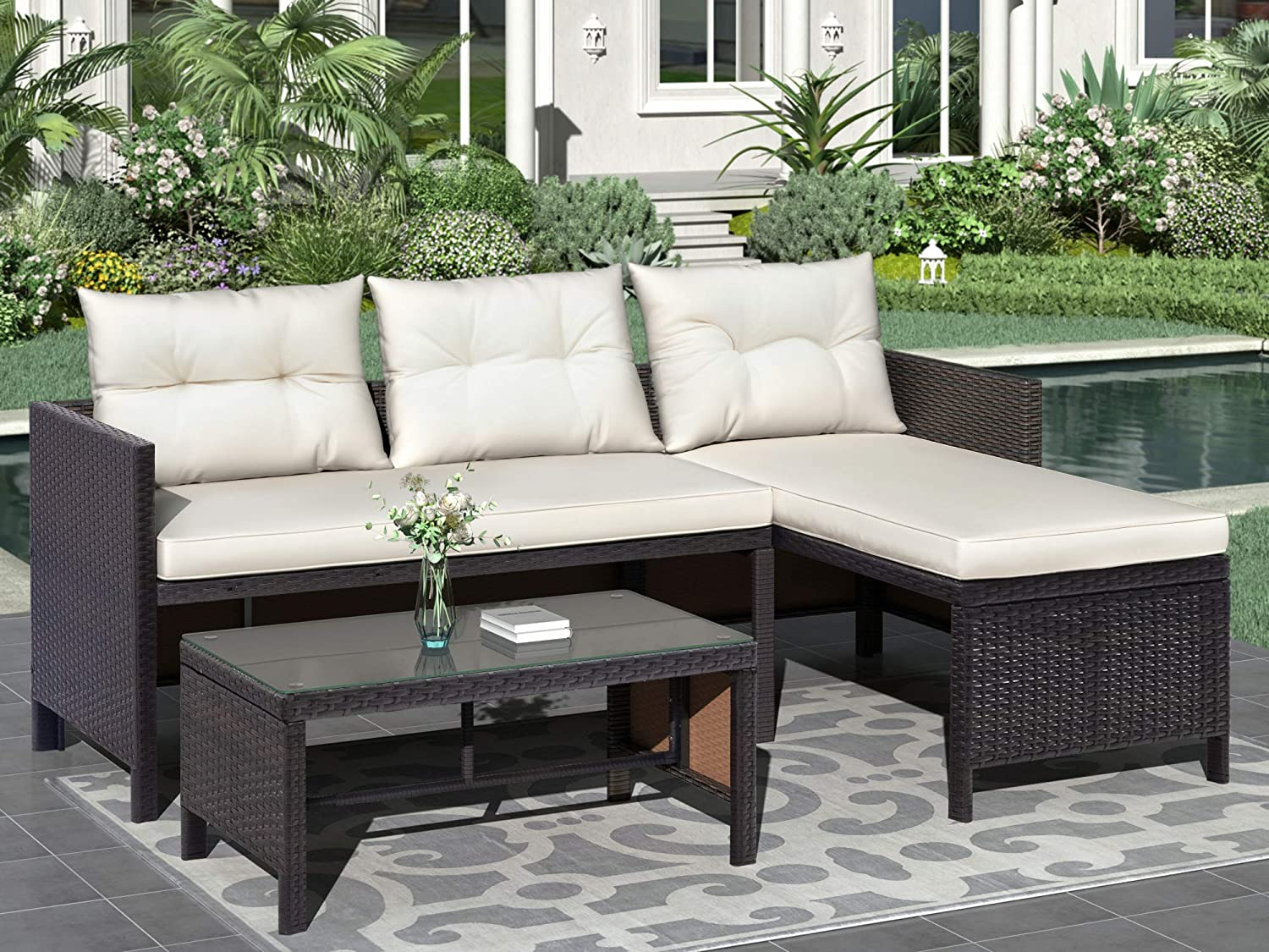 WHNB 3 Pieces Patio Furniture Set and Outdoor Side Rattan Super Outlet sale feature sale Sofa