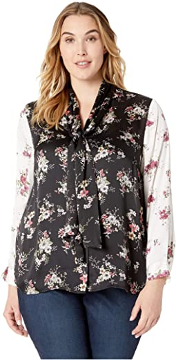 Plus Size Long Sleeve Delicate Bouquet Tie Neck Color Block Blouse