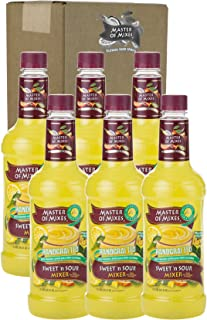 Master of Mixes Sweet & Sour Drink Mix, Ready To Use, 1 Liter Bottle (33.8 Fl Oz), Pack of 6