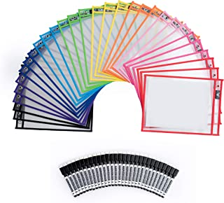 Dry Erase Pockets - 30 Pack Reusable Clear Plastic Sleeves with Marker - 9x12 Inches Multi-Colored Sheets School & Classroom Supplies for Teachers & Kids