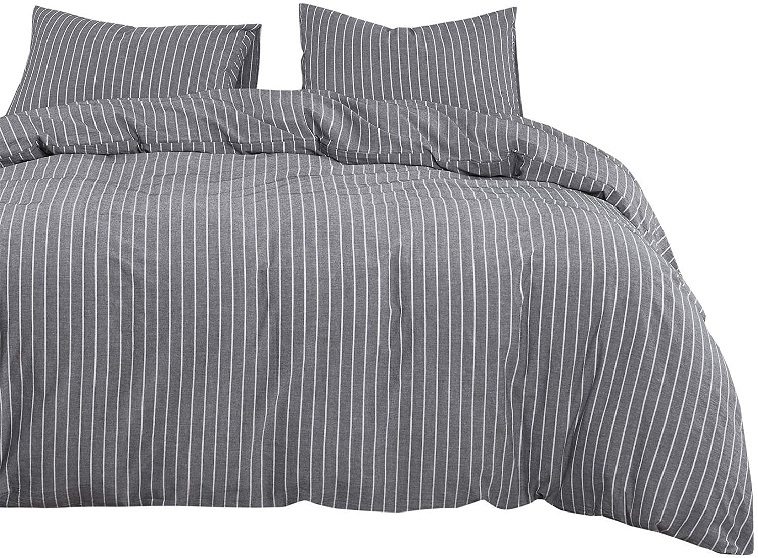Wake In Cloud - Gray Max 61% OFF Striped Cover Cotton Max 72% OFF 100% Set Washed Duvet