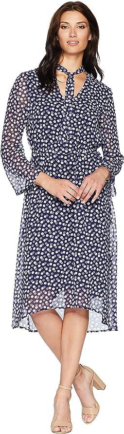 V-Neck Long Sleeve Fit & Flare Dress