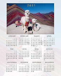 Regali di Lama Vibrante per Capodanno, Calendario di Lama Carino 2021 Una Pagina, Decorazioni Peruviane Lama Parete Arte f...