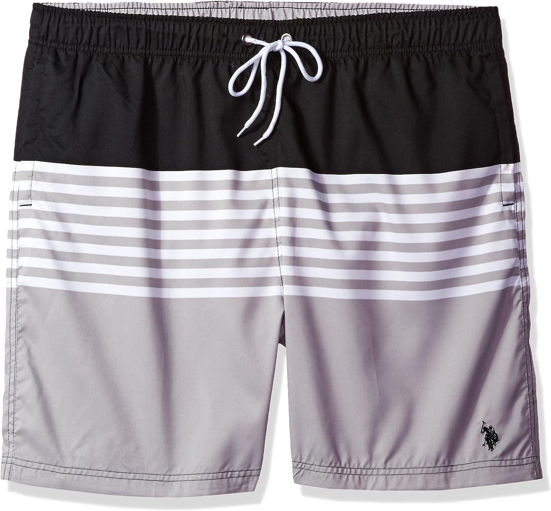 U.S. Polo Assn. Men's Big-Tall Striped Color Block Swim Short