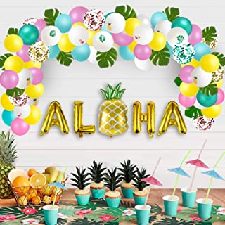 Luau Party Supplies - Hawaiian Decorations Set 96pcs Aloha Banner/Tropical Leaves/Confetti Balloon Arch/Drinking Straws - Flamingo Pineapple Summer Beach Pool Backdrop