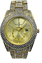 Minimilist Designer Bling Watch with Date Window on dial A Hip Hop Clone Consipiracy Timepiece - ST10328A Gold