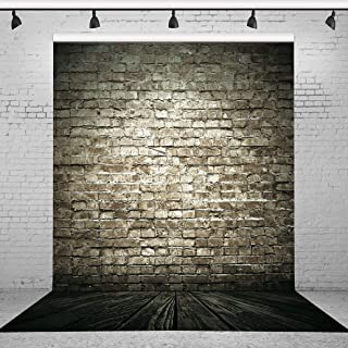 Riyidecor Polyester Fabric Rod Pocket Brick Wall Wood Backdrop Black Wooden Wall Photography 5x7 Feet Vintage Retro Rustic Backgrounds Home Party Decoration Celebration Baby Shower Photo Shoot Props