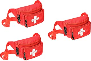 Dealmed Lifeguard Fanny Pack with Logo, E-Z Zipper Design and 3 Pockets, Red (3 Pack)