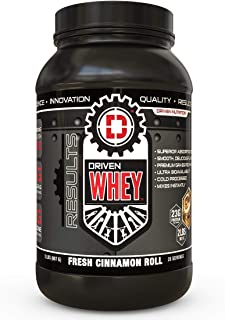 Driven WHEY- Grass Fed Whey Protein Powder: Delicious, Clean Protein Shake- Improve Muscle Recovery with 23 Grams of Protein with Added BCAA and Digestive Enzymes (Cinnamon Roll, 2 lb)