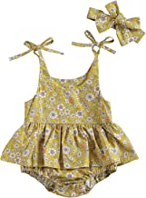 Baby Girl Onesie Infant Short Sleeve Creeper Dress Gathered Spin Dress 100/% cotton One piece Yellow Floral Mustard Snaps diaper cover Skirt