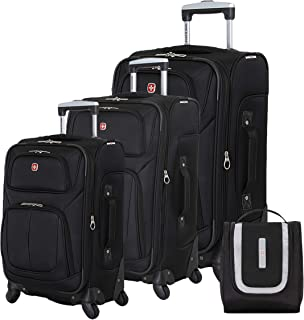 SWISSGEAR 6283 Amazon Exclusive Premium 3pc Spinner Luggage Set with Dopp Kit Bundle - Black