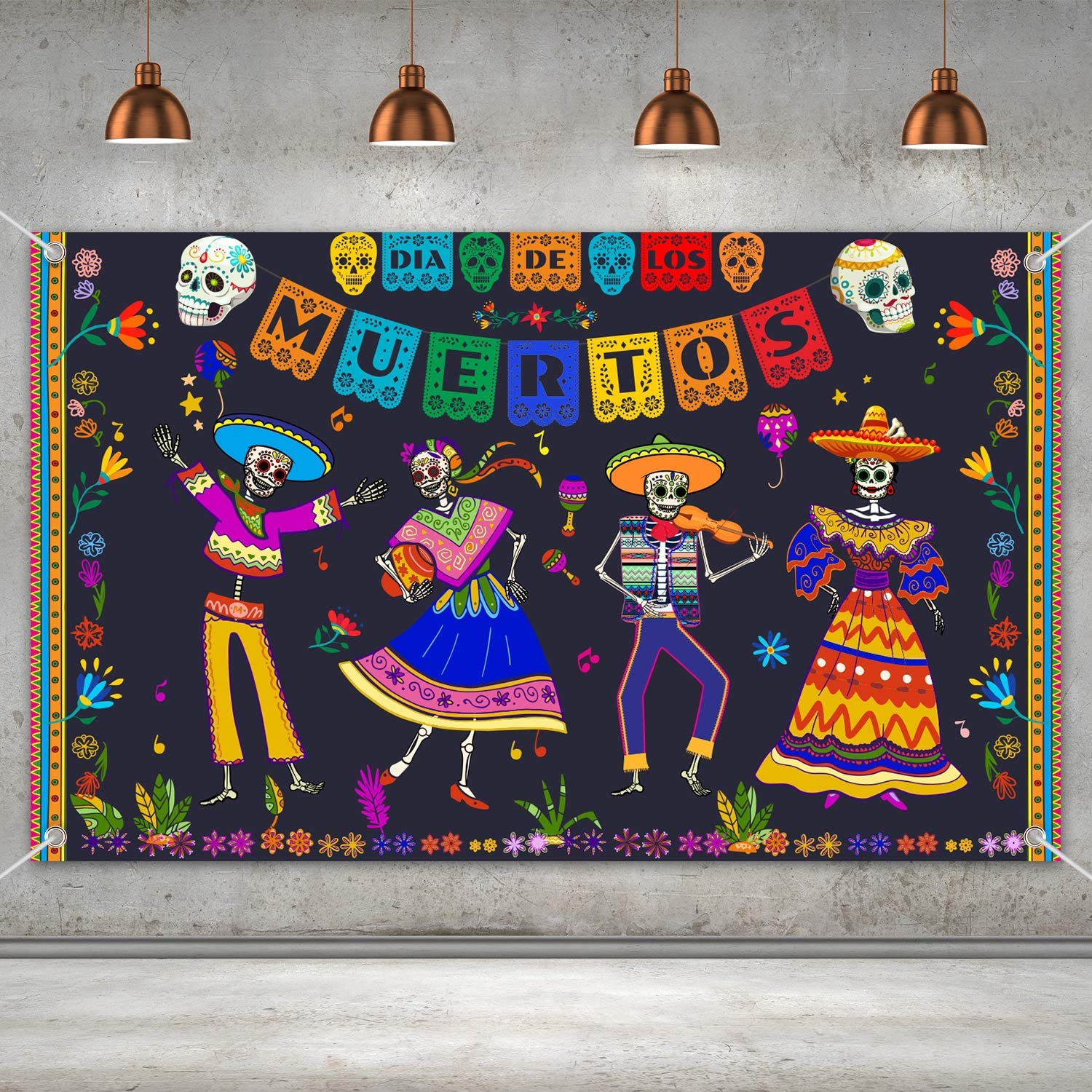 Day of The Dead Backdrop for Mexican Fiesta Sugar Skull Flowers Background Dia DE Los Muertos Birthday Halloween Party Supplies Fiesta Banner Party Decoration Photo Booth Studio(Dance)