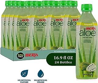 Iberia Aloe Vera Juice Drink , Soursop, 16.9 Fl Oz (Pack of 24) BPA Free Bottles with Pure Aloe Pulp, No Artificial Flavors Preservatives or Colors, Convenient Healthy Soursop Juice Drink