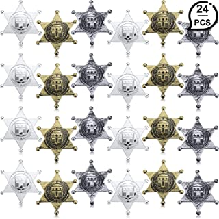 WILLBOND 24 Pieces Plastic Sheriff Badge Cowboy Toy Badges 3 Color Western Deputy Sheriff Badge for Halloween Party Favors Costume Props