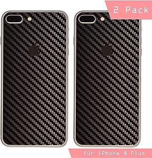 iShield Carbon Fiber Foil - Adhesivos Resistentes a arañazos para la Parte Trasera del iPhone 6 Plus/6S Plus/7 Plus/8 Plus 2 ultrafinos, 70 micrones (i8Plus, Negro)