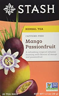Stash Tea Mango Passionfruit Herbal Tea 20 Count Tea Bags in Foil (Pack of 6) Individual Herbal Tea Bags for Use in Teapots Mugs or Cups, Brew Hot Tea or Iced Tea