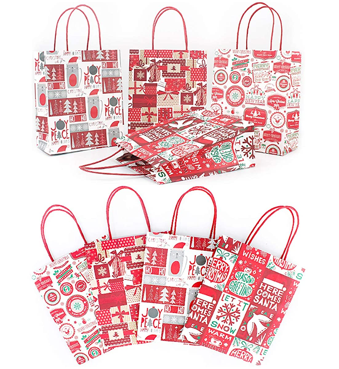 8Pcs Christmas Kraft Gift Bags with Assorted Festive Designs & Patterns for Unique Kraft Holiday Paper Gift Bags Goody Bag, Xmas Gift Bags, Classrooms and Party Favors for Birthday, Weddings Presents