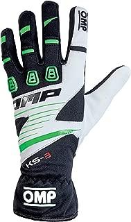 OMP KS-3 Karting Gloves (Size X-Large, Black/Green/White)