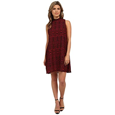 BB Dakota Skyla Siesmic Print Mock Neck Dress (Bordeaux) Women