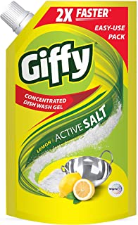 Giffy Lemon & Active Salt Concentrated Dish Wash Gel by Wipro, 1000ml