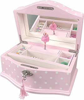 Art Lins Elle Ballerina Music Jewelry Box with Lock, Large, Wooden Case, Pink Dot