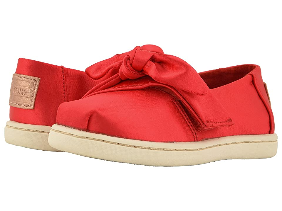 TOMS Kids Alpargata (Infant/Toddler/Little Kid) (Lava Satin/Bow) Girl