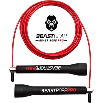 Speed Skipping Rope Adult for Women and Men - Advanced Fitness Jump Rope for Exercise, Boxing Skipping, Crossfit - Beast Rope Pro by Beast Bear for MMA, HIIT Workout, Strength Training & Double Unders