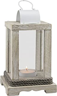 Stonebriar Coastal Worn White Wooden Candle Lantern with Nautical Rope Detail, Use as Decoration for Parties, a Beach House Inspired Wedding Centerpiece, or a Rustic Mantle Decoration