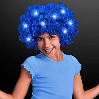 FlashingBlinkyLights 70s Disco Style Blue Afro Wig with LED Lights
