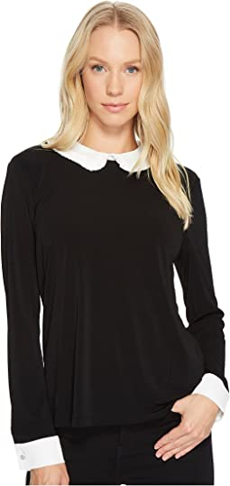 CeCe Long Sleeve Color Block Pleat Collar Mix Media Top