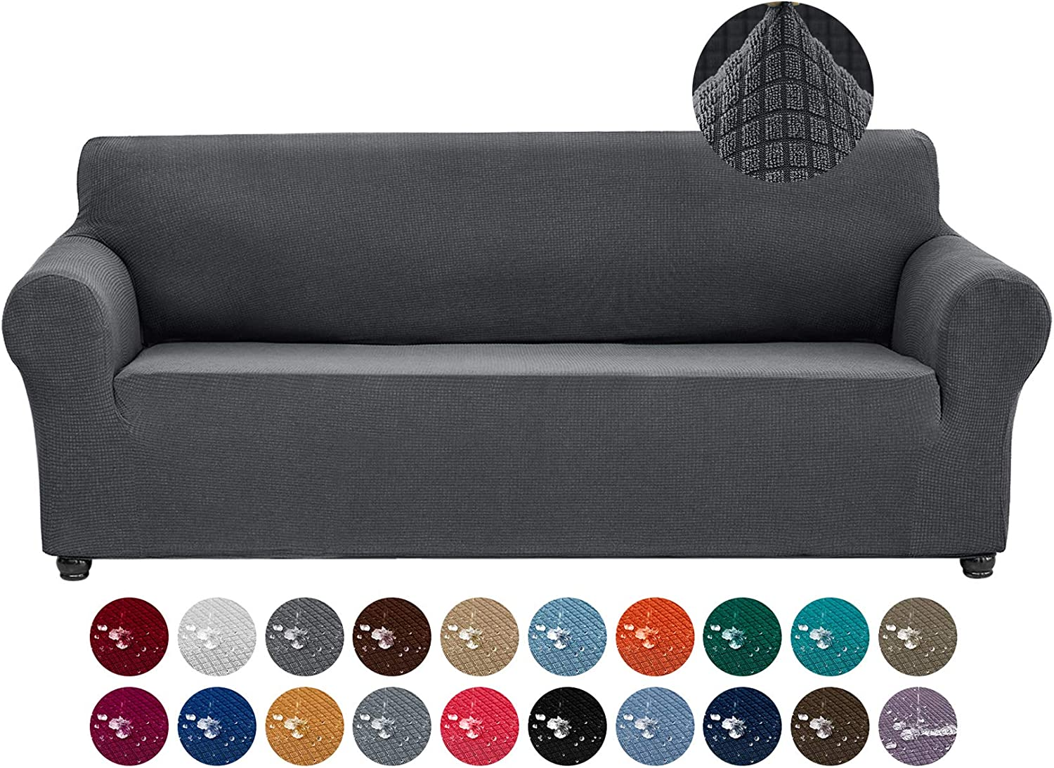 Joccun Stretch Couch Cover Slipcovers, 1-Piece Water Repellent Sofa Covers for 3 Cushion Couch Spandex Jacquard Washable Furniture Protector Cover for Living Room,Kids,Pets(Sofa,Dark Gray)