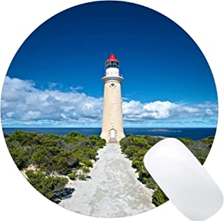 Yanteng Natural Rubber Round Mouse Pad Printed with Cloud Sky Ocean Beach Australia -Stitched Edges