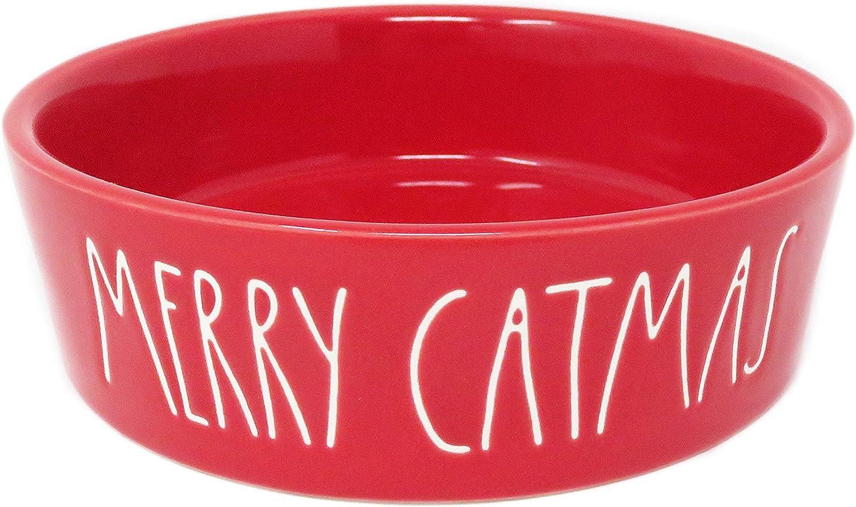 Rae Dunn Magenta Merry Catmas Red Ceramic LL Pet Food Water Bowl