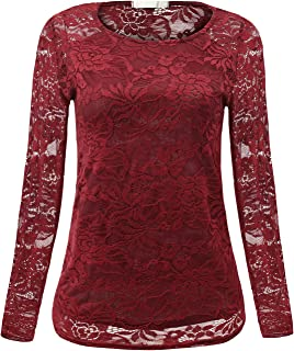 Womens Casual Tops Floral Lace Hollow Long Sleeve Shirt Top