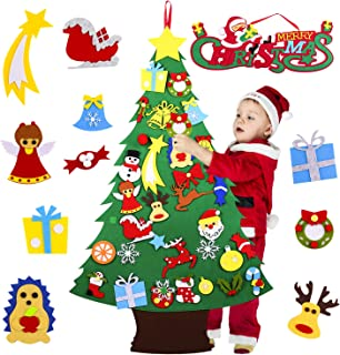 Ayeboovi Felt Christmas Tree for Kids, DIY Felt Christmas Tree Game with 35 Pcs Ornaments and Xmas Banner for Kids, Wall Hanging Ornaments Kids Gifts for Christmas Decorations