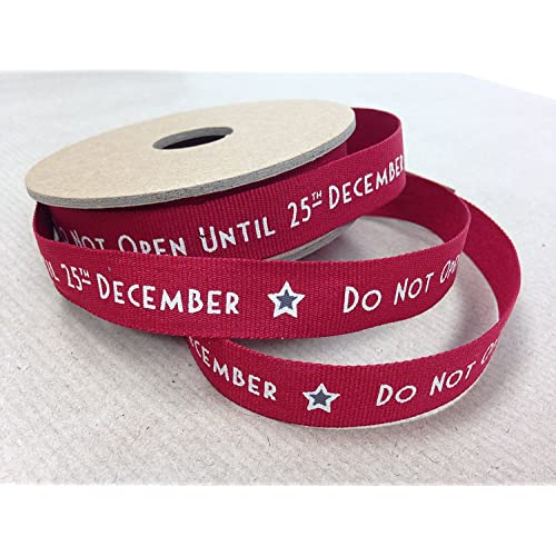East Of India 3m DO NOT OPEN UNTIL 25TH DECEMBER Christmas Gift Wrap Ribbon1.5cm