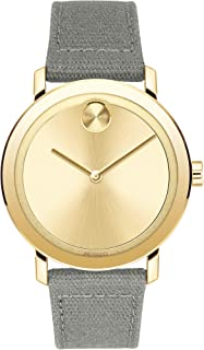 Movado Mens' Light Gold Dial Grey Waxed Canvas Watch - 3600692