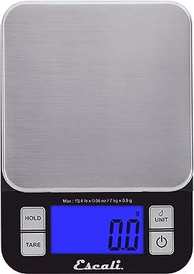 Escali SQ157B Nutro - Báscula digital de cocina, capacidad de 15 libras, color negro